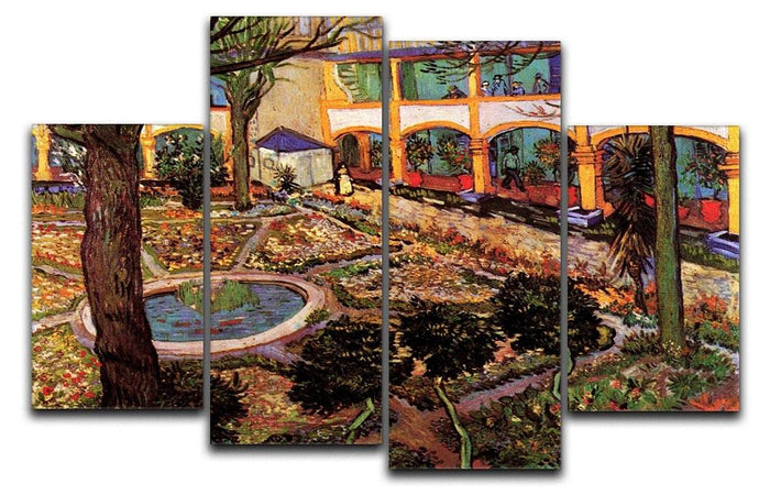 The Courtyard of the Hospital at Arles by Van Gogh 4 Split Panel Canvas