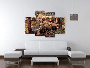 The Courtyard of the Hospital at Arles by Van Gogh 4 Split Panel Canvas - Canvas Art Rocks - 3