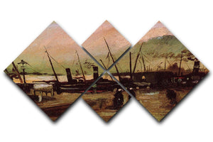 The De Ruijterkade in Amsterdam by Van Gogh 4 Square Multi Panel Canvas  - Canvas Art Rocks - 1