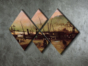 The De Ruijterkade in Amsterdam by Van Gogh 4 Square Multi Panel Canvas - Canvas Art Rocks - 2