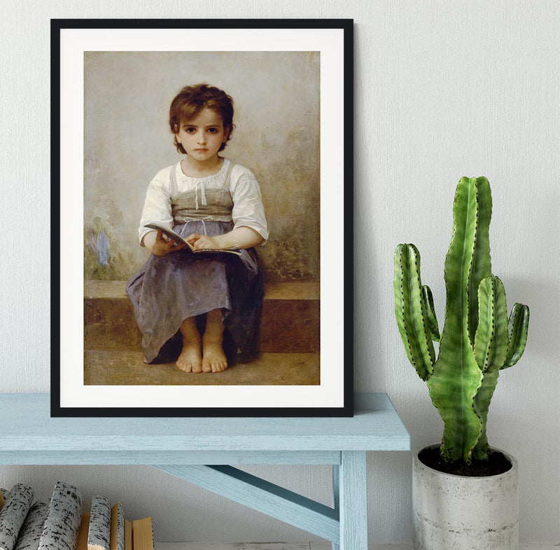 The Difficult Lesson By Bouguereau Framed Print - Canvas Art Rocks - 1