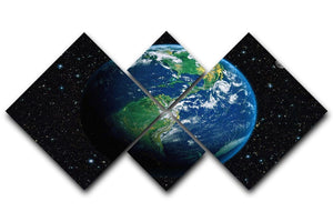 The Earth from space 4 Square Multi Panel Canvas  - Canvas Art Rocks - 1