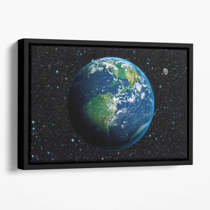 The Earth from space Floating Framed Canvas