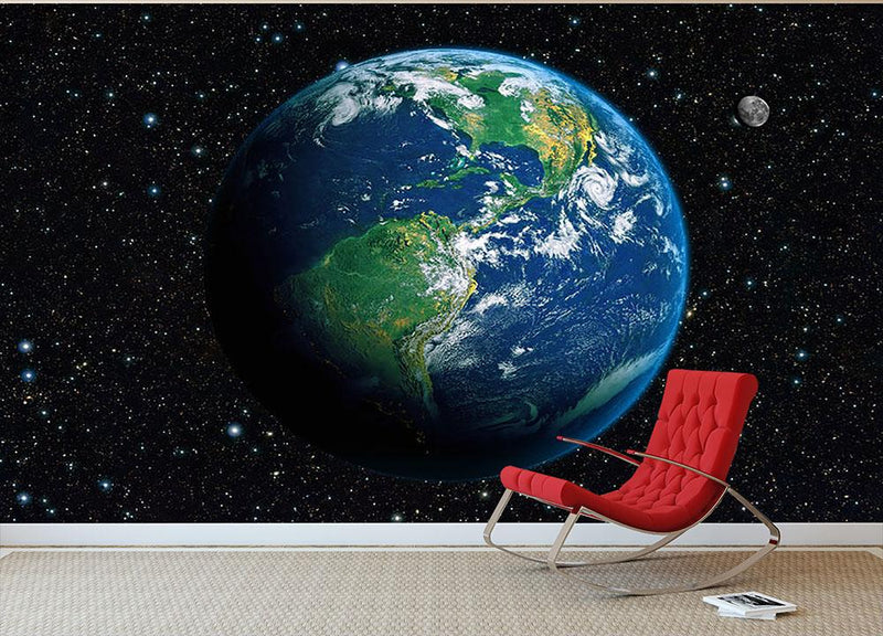 The Earth from space Wall Mural Wallpaper - Canvas Art Rocks - 1