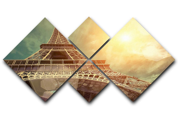 The Eiffel tower under sun light 4 Square Multi Panel Canvas
