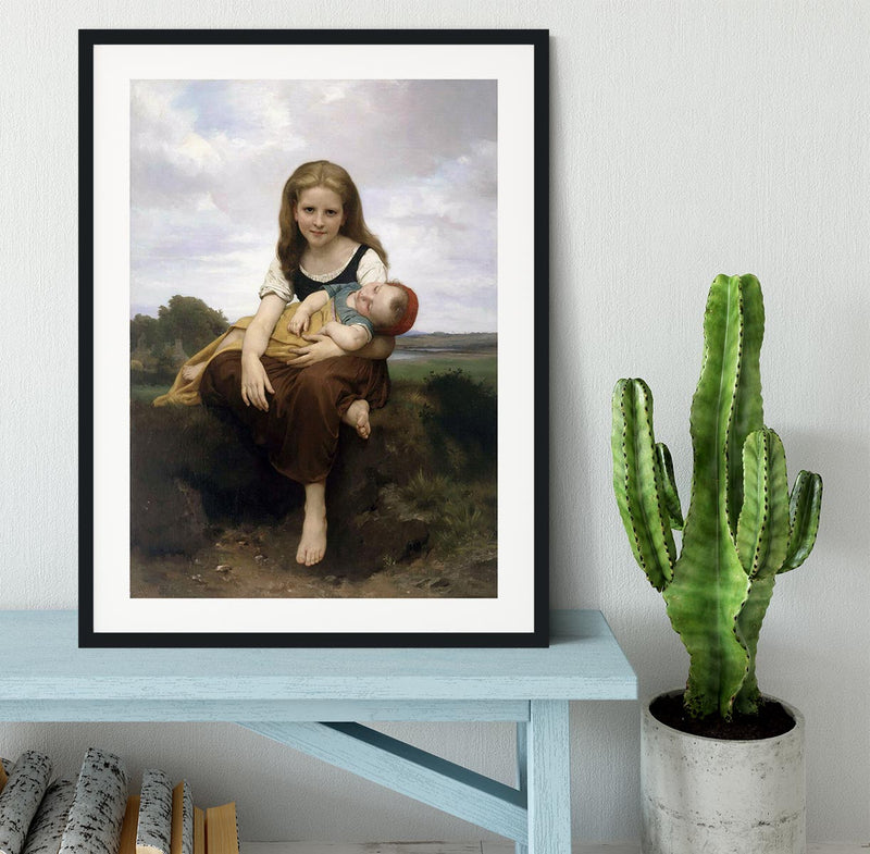The Elder Sister By Bouguereau Framed Print - Canvas Art Rocks - 1