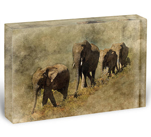 The Elephants March Acrylic Block - Canvas Art Rocks - 1