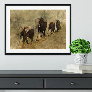 The Elephants March Framed Print - Canvas Art Rocks - 1