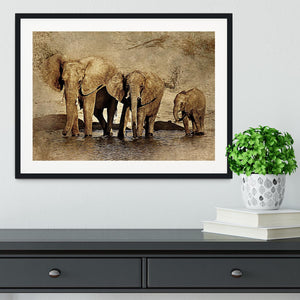 The Elephants March Version 2 Framed Print - Canvas Art Rocks - 1