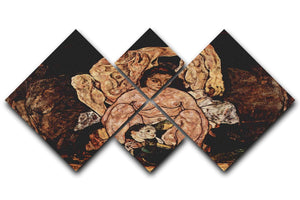 The Family by Egon Schiele 4 Square Multi Panel Canvas - Canvas Art Rocks - 1