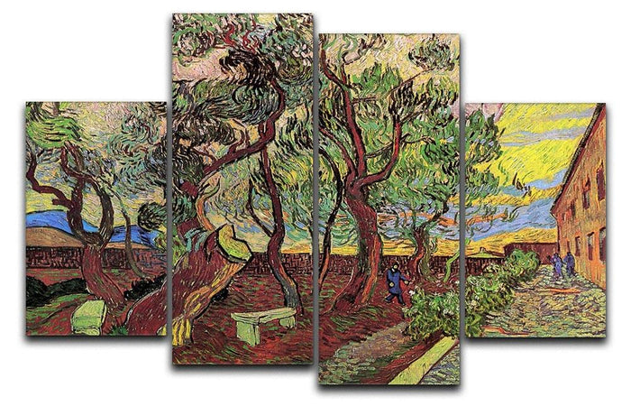 The Garden of Saint-Paul Hospital 3 by Van Gogh 4 Split Panel Canvas