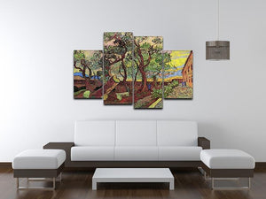 The Garden of Saint-Paul Hospital 3 by Van Gogh 4 Split Panel Canvas - Canvas Art Rocks - 3