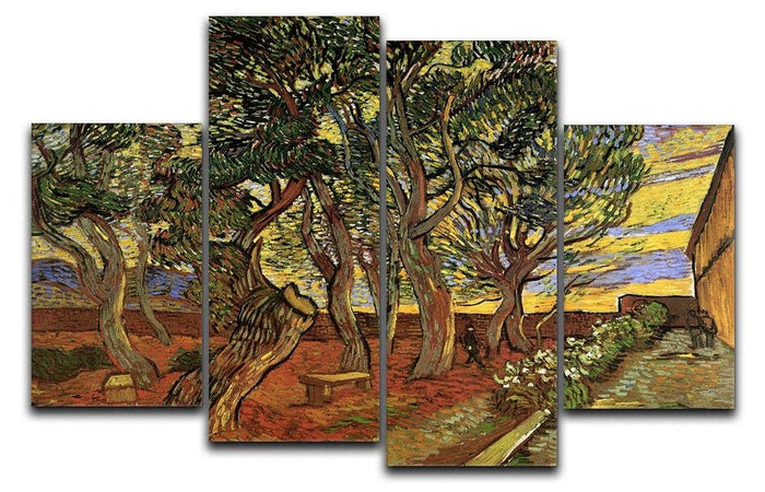 The Garden of Saint-Paul Hospital 4 by Van Gogh 4 Split Panel Canvas