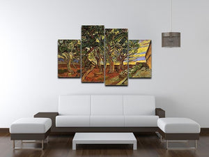 The Garden of Saint-Paul Hospital 4 by Van Gogh 4 Split Panel Canvas - Canvas Art Rocks - 3