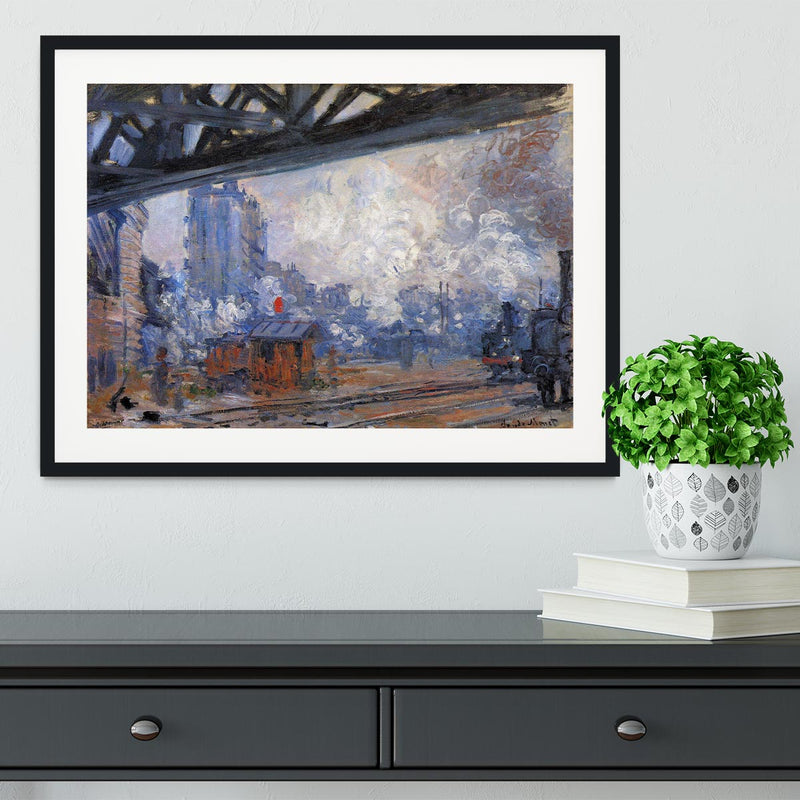 The Gare Saint Lazare by Monet Framed Print - Canvas Art Rocks - 1