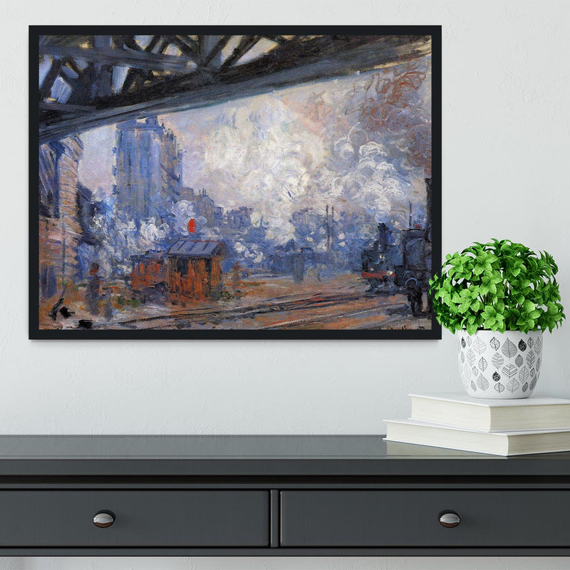 The Gare Saint Lazare by Monet Framed Print - Canvas Art Rocks - 2