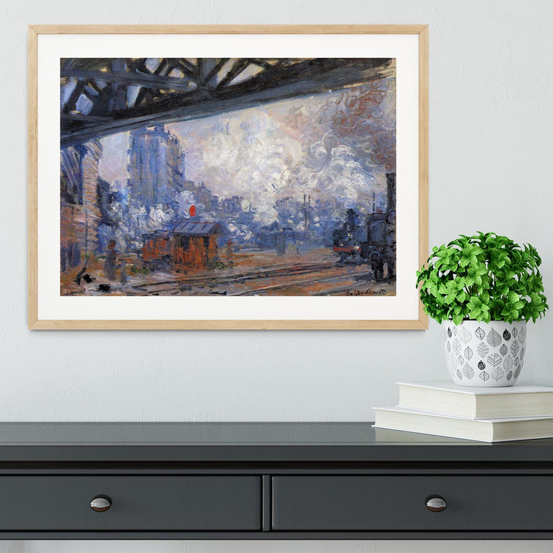 The Gare Saint Lazare by Monet Framed Print - Canvas Art Rocks - 3