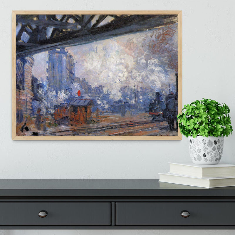 The Gare Saint Lazare by Monet Framed Print - Canvas Art Rocks - 4