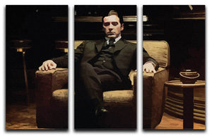The Godfather Michael Corleone in Armchair 3 Split Panel Canvas Print - Canvas Art Rocks