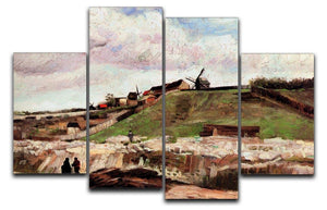 The Hill of Montmartre with Quarry by Van Gogh 4 Split Panel Canvas  - Canvas Art Rocks - 1