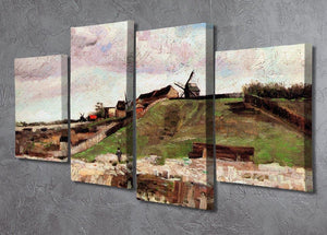 The Hill of Montmartre with Quarry by Van Gogh 4 Split Panel Canvas - Canvas Art Rocks - 2