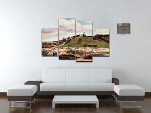 The Hill of Montmartre with Quarry by Van Gogh 4 Split Panel Canvas - Canvas Art Rocks - 3