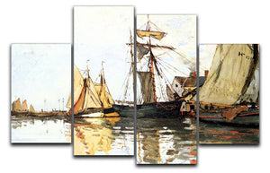 The Honfleur Port by Monet 4 Split Panel Canvas  - Canvas Art Rocks - 1