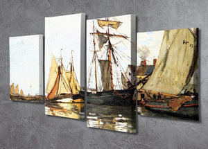 The Honfleur Port by Monet 4 Split Panel Canvas - Canvas Art Rocks - 2