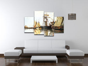 The Honfleur Port by Monet 4 Split Panel Canvas - Canvas Art Rocks - 3