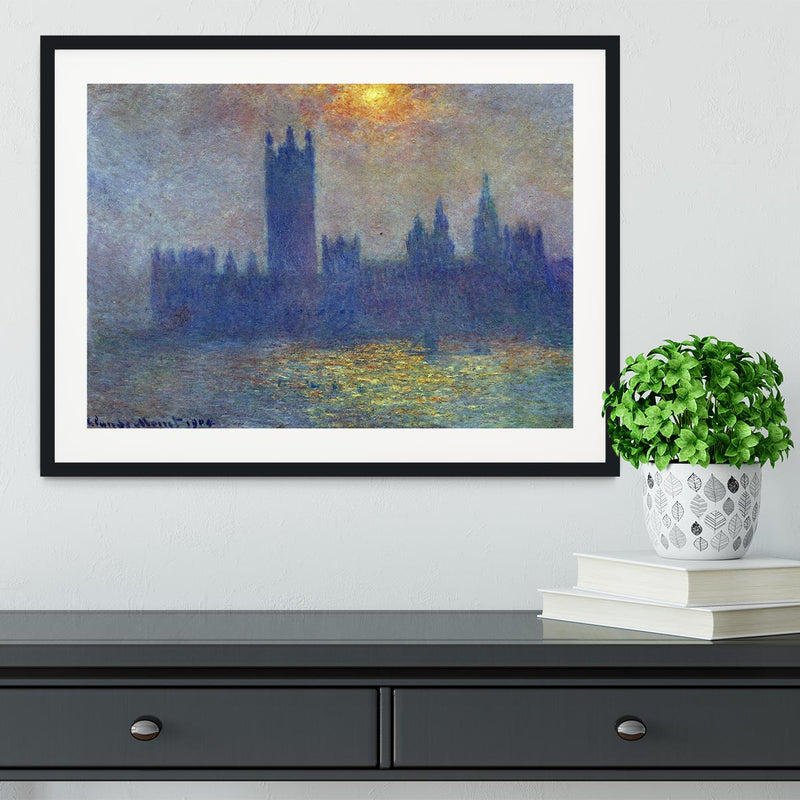 The Houses of Parliament sunlight in the fog by Monet Framed Print - Canvas Art Rocks - 1
