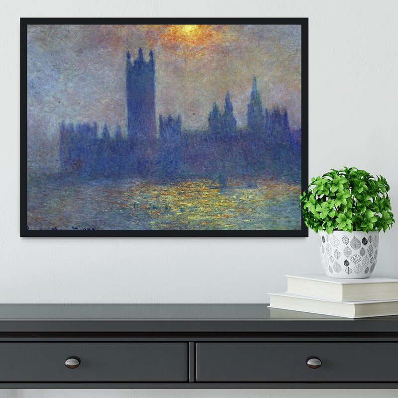 The Houses of Parliament sunlight in the fog by Monet Framed Print - Canvas Art Rocks - 2