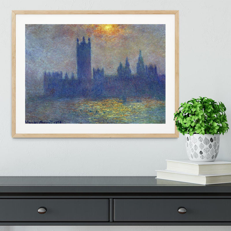 The Houses of Parliament sunlight in the fog by Monet Framed Print - Canvas Art Rocks - 3