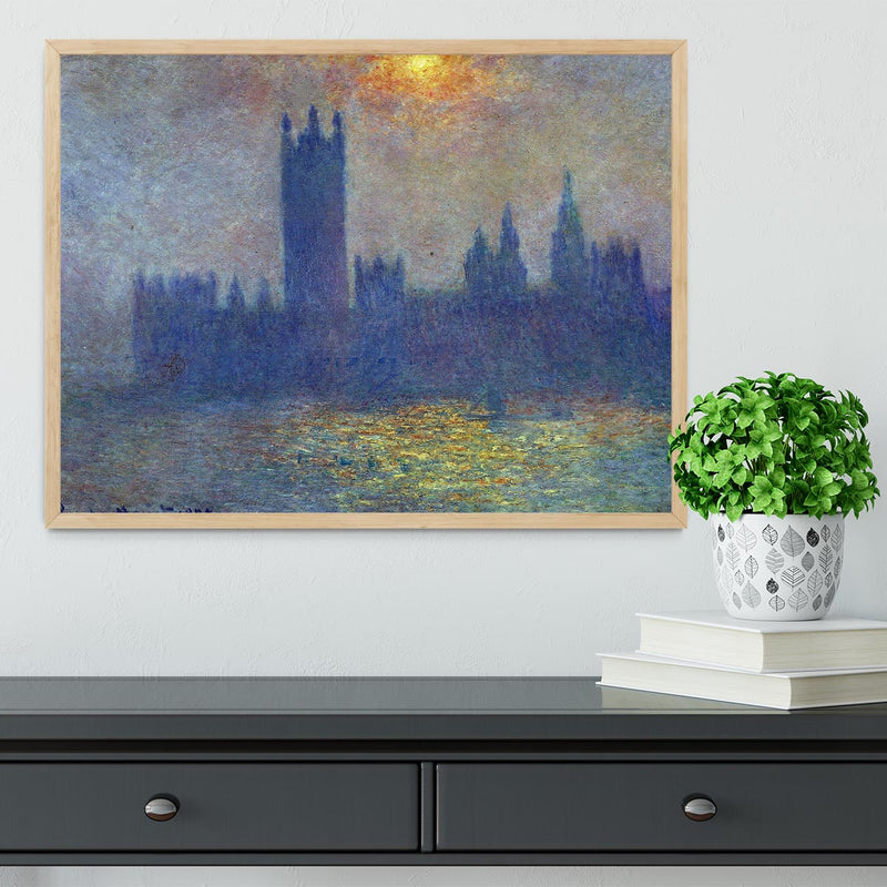 The Houses of Parliament sunlight in the fog by Monet Framed Print - Canvas Art Rocks - 4