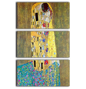 The Kiss 2 by Klimt 3 Split Panel Canvas Print - Canvas Art Rocks - 1