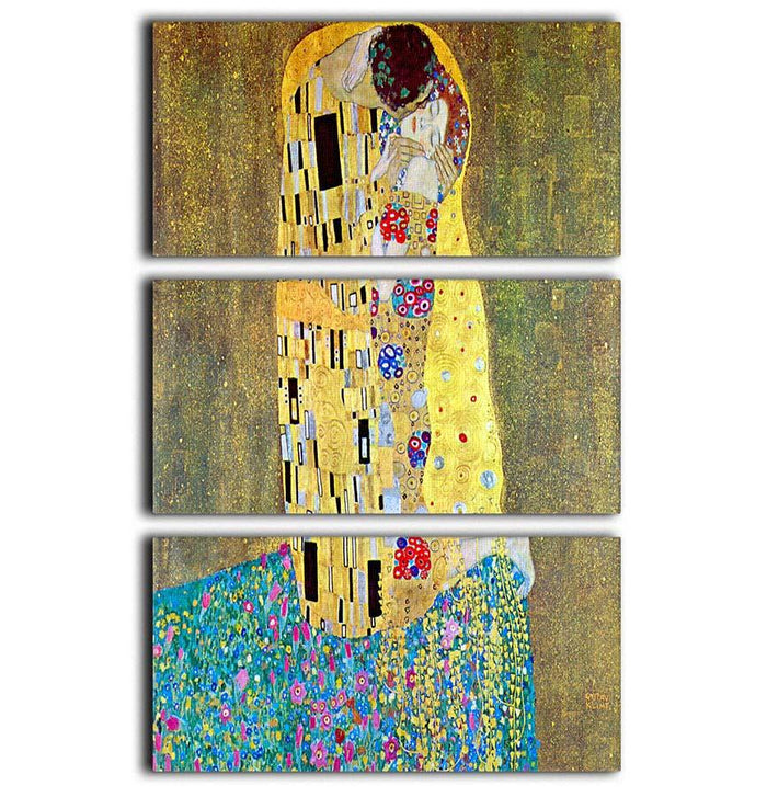 The Kiss 2 by Klimt 3 Split Panel Canvas Print