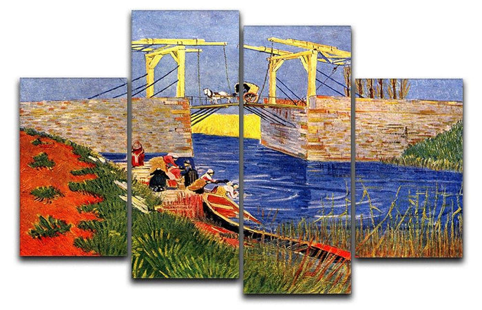 The Langlois Bridge at Arles with Women Washing by Van Gogh 4 Split Panel Canvas