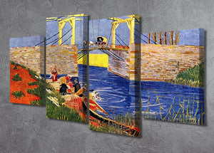 The Langlois Bridge at Arles with Women Washing by Van Gogh 4 Split Panel Canvas - Canvas Art Rocks - 2