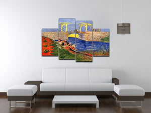 The Langlois Bridge at Arles with Women Washing by Van Gogh 4 Split Panel Canvas - Canvas Art Rocks - 3
