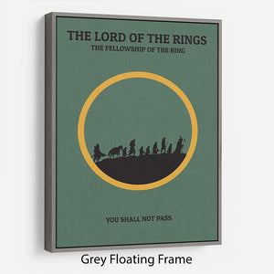 The Lord Of The Rings Fellowship If The Ring Minimal Movie Floating Frame Canvas - Canvas Art Rocks - 3