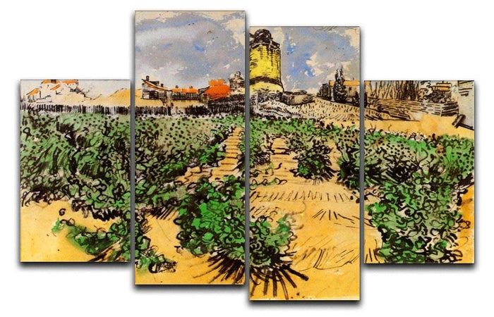 The Mill of Alphonse Daudet at Fontevielle by Van Gogh 4 Split Panel Canvas