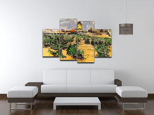 The Mill of Alphonse Daudet at Fontevielle by Van Gogh 4 Split Panel Canvas - Canvas Art Rocks - 3
