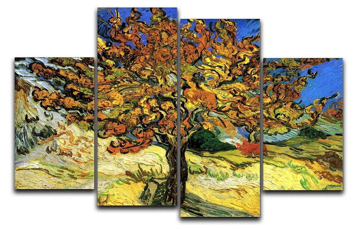 The Mulberry Tree by Van Gogh 4 Split Panel Canvas