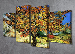 The Mulberry Tree by Van Gogh 4 Split Panel Canvas - Canvas Art Rocks - 2