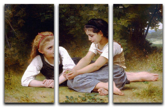 The Nut Gatherers By Bouguereau 3 Split Panel Canvas Print