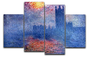 The Parlaiment in London by Monet 4 Split Panel Canvas  - Canvas Art Rocks - 1