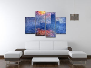 The Parlaiment in London by Monet 4 Split Panel Canvas - Canvas Art Rocks - 3