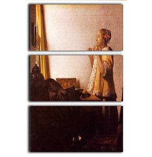 The Pearl Necklace by Vermeer 3 Split Panel Canvas Print - Canvas Art Rocks - 1