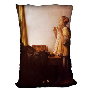 The Pearl Necklace by Vermeer Cushion