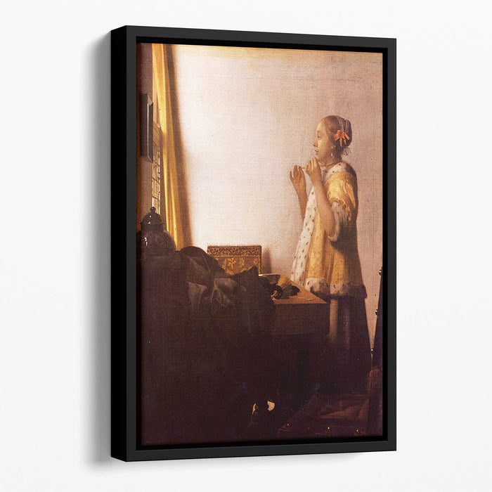The Pearl Necklace by Vermeer Floating Framed Canvas