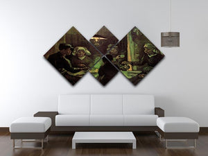The Potato Eaters by Van Gogh 4 Square Multi Panel Canvas - Canvas Art Rocks - 3